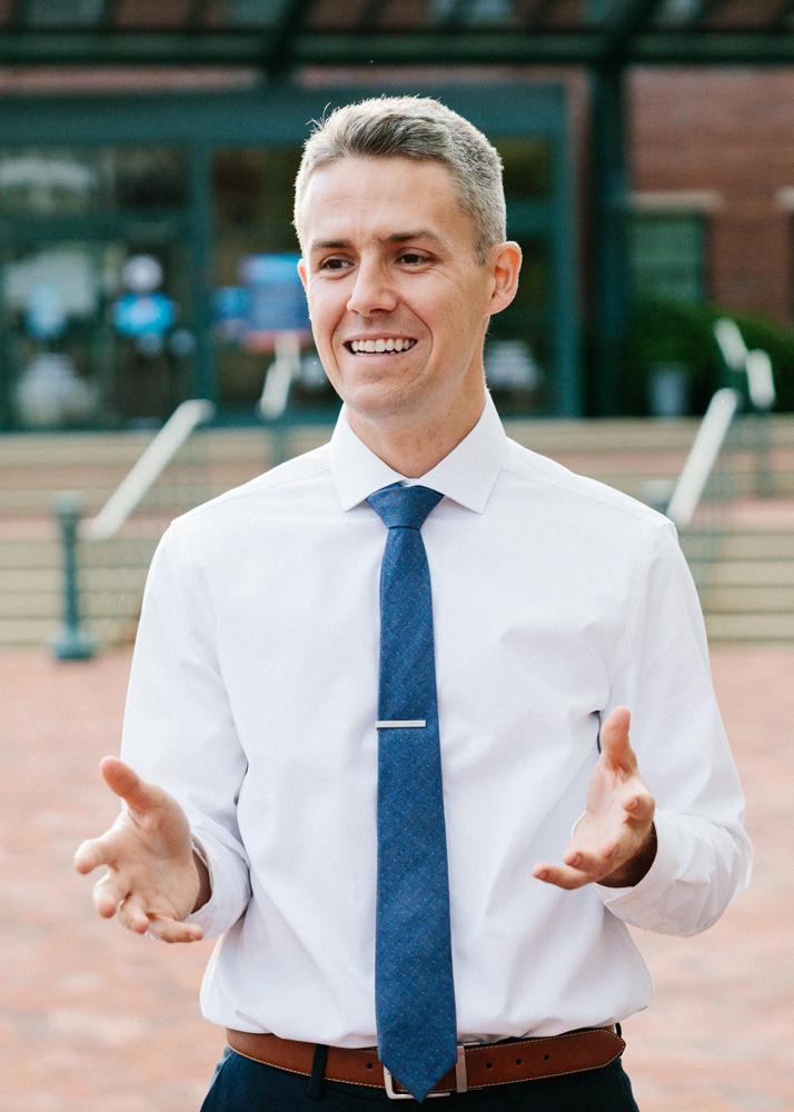 Matt Fyfe gestures with his hands while speaking
